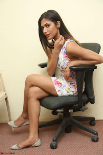 Nishi Ganda stunning cute in Flower Print short dress at Tick Tack Movie Press Meet March 2017 110.JPG