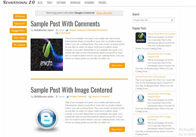 Sensational Free Blogger Templates