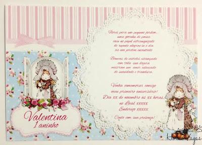 convite artesanal aniversário infantil personalizado casinha de bonecas chá de boneca floral vintage provençal azul delicado envelope papel vegetal festa chá de bebê menina 1 aninho scrap scrapbook scrapfesta