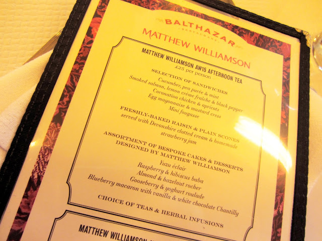 Balthazar Restaurant Matthew Williamson afternoon tea