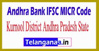 Andhra Bank IFSC MICR Code Kurnool District Andhra Pradesh State