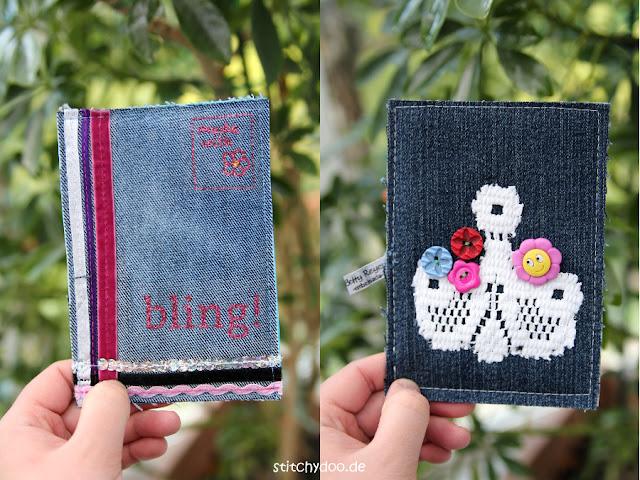 Stoffkartentausch 2016 | Spitze, Glitzer, Blingbling - Jeanskarten von Gabi und Betty