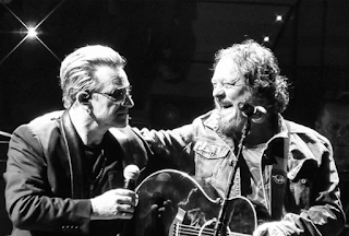 Zucchero with U2 lead singer Bono at a U2 concert in Turin in 2015