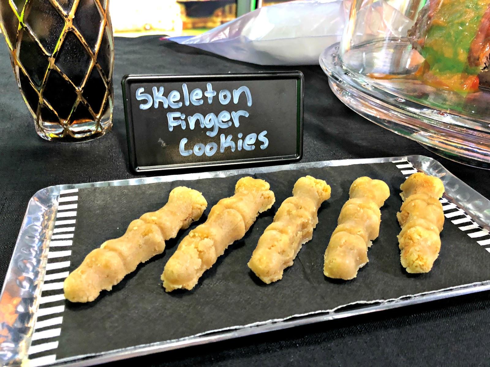 Murder Mystery Party Food- skeleton finger cookies