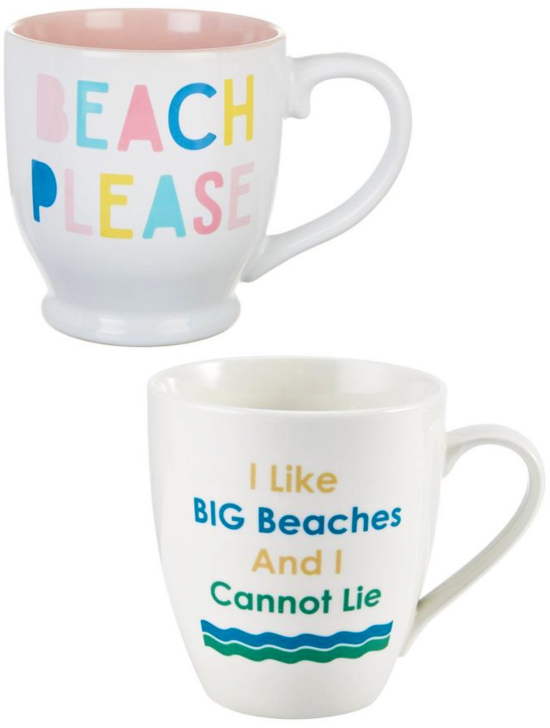 Ceramic Beach Quote Mugs