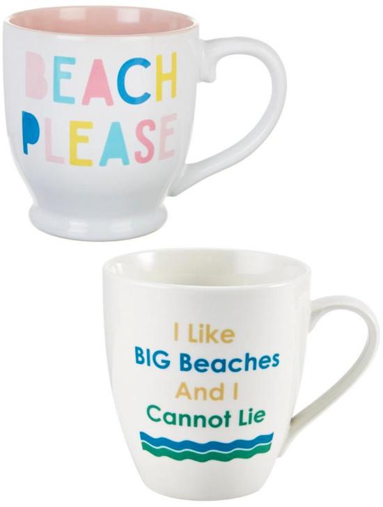 Ceramic Beach Quote Mugs