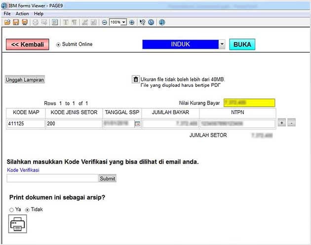 Kirim SPT 1770 via Online