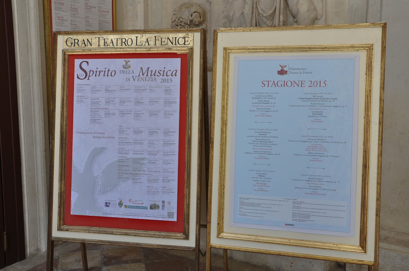 The programme for Season 2015, La Fenice, Venice, Italy
