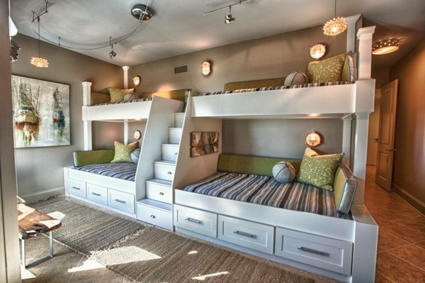 Bunk Bed With Stairs For Four Children