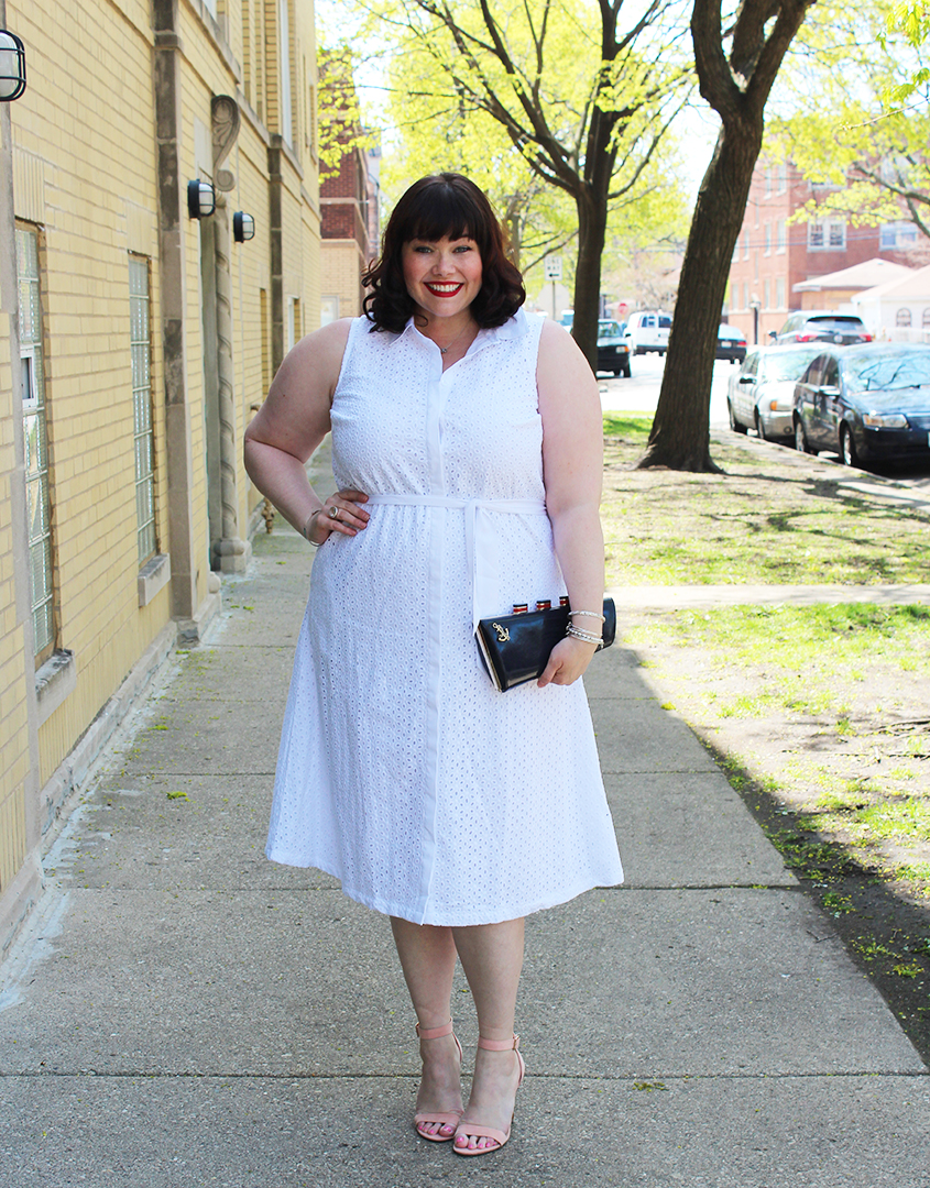 Plus Size Blogger Amber from Style Plus Curves in a White Plus Size Dress from Jessica London on Fullbeauty.com