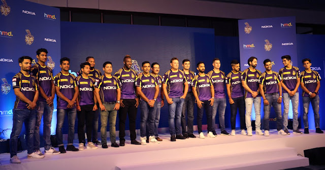 Kolkata Knight Riders new jersey with Nokia logo