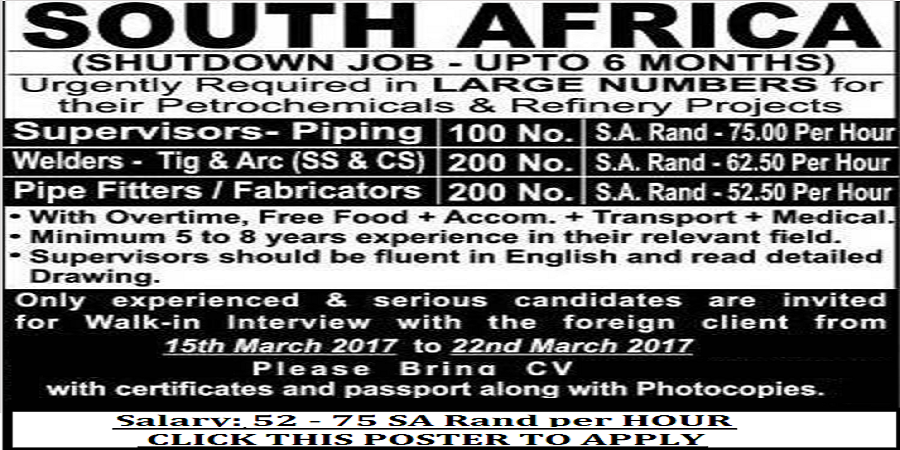 RECRUITMENT TO SOUTH AFRICA - SHUTDOWN JOBS FOR 6 MONTHS ...