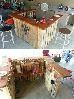 como hacer una barra de bar con palets de madera