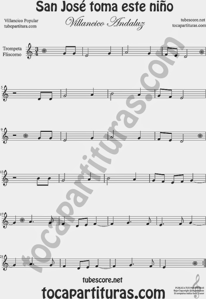 San José toma este niño  Partitura de Clarinete Sheet Music for Clarinet Music Score