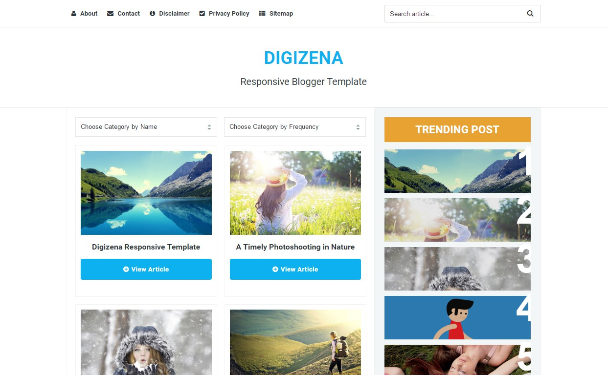 digizena responsive, seo and ads optimized personal, fashion and technology blogger template free download