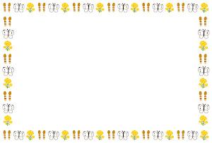 春のフレーム「つくしと蝶」横