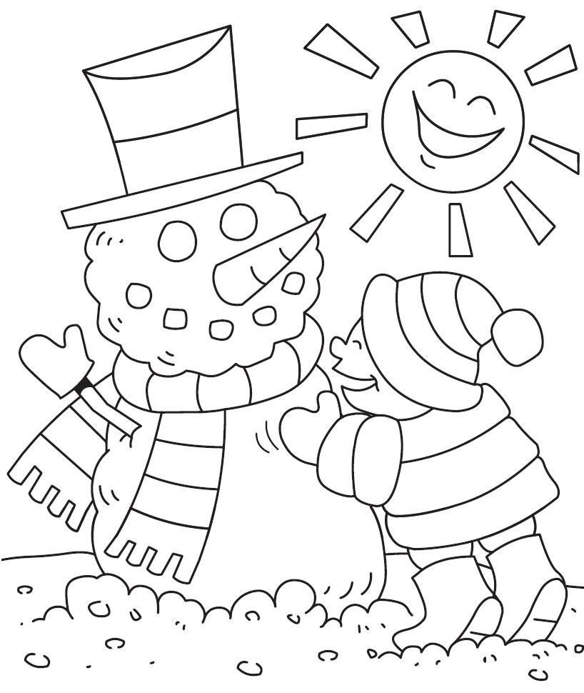 Preschool bilingual project winter coloring page for Winter coloring pages for preschool