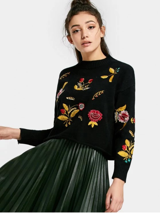Floral Patched Drop Shoulder Sweater