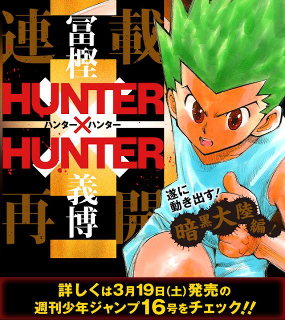 Ogłoszenie dotyczące wznowienia mangi Hunter x Hunter po ponad rocznej przerwie