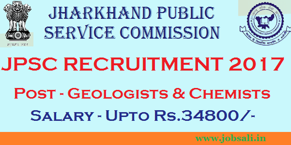 Jharkand PSC Notification 2017, Geologists Jobs, Chemists Jobs