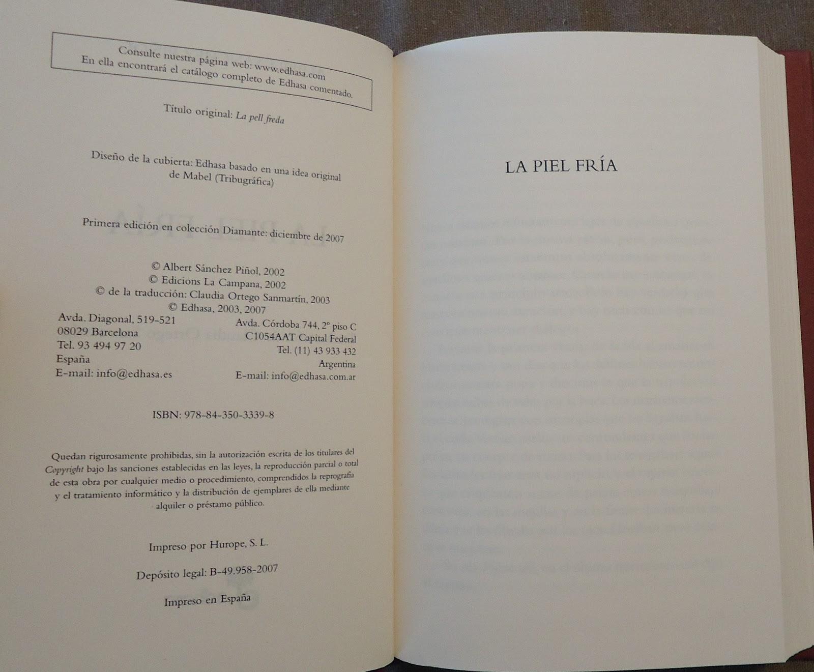 """""""La piel fría"""" de Albert Sánchez Piñol."""