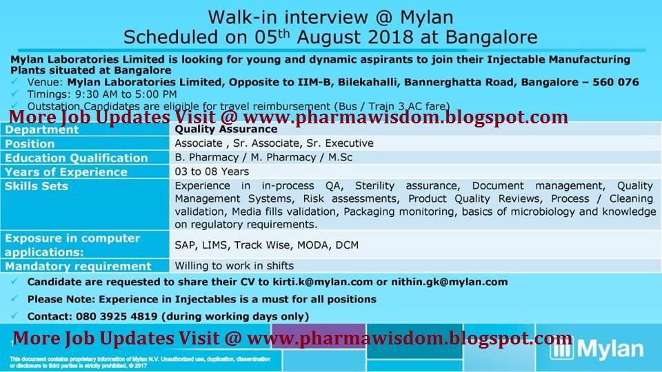 Mylan Laboratories Limited - Walk-In Interviews on 5th