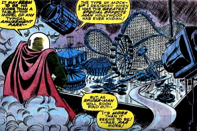 Amazing Spider-Man #66, jim mooney, john romita, surrounded by smoke, mysterio studies the model funfair he's created for his next plot to defeat spider-man with