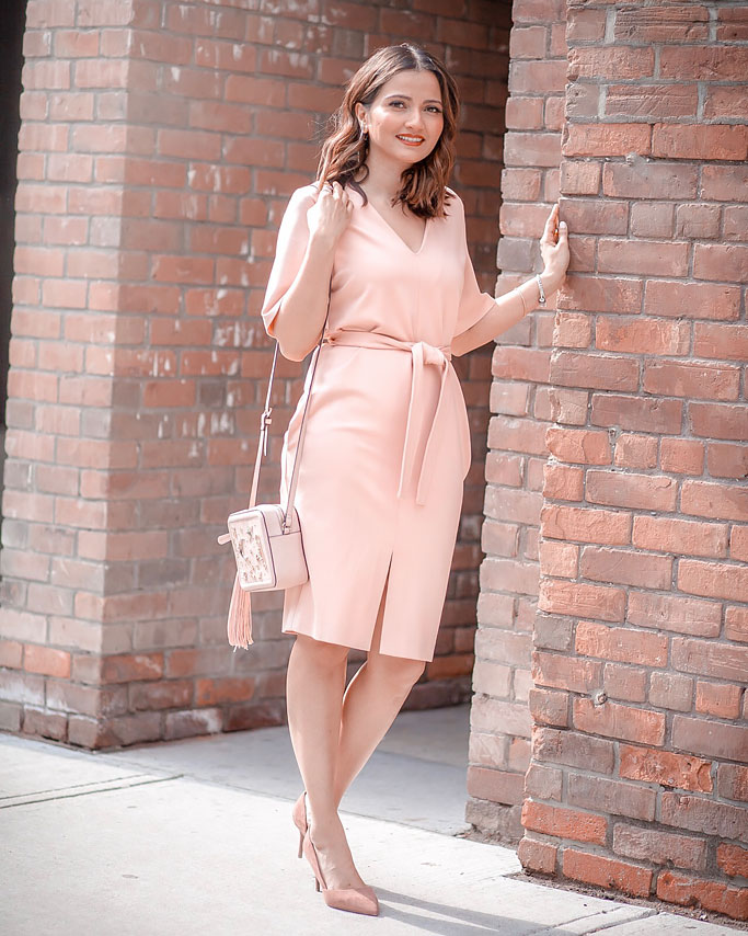 Pink Midi Obi Belt Dress Rachel Sin Blogger Outfit