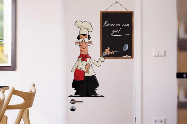 Adesivo com cozinheiro e lousa para cozinha