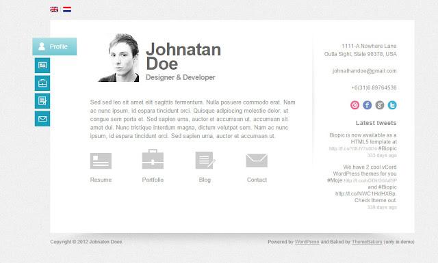 Biopic – Responsive vCard WordPress Theme