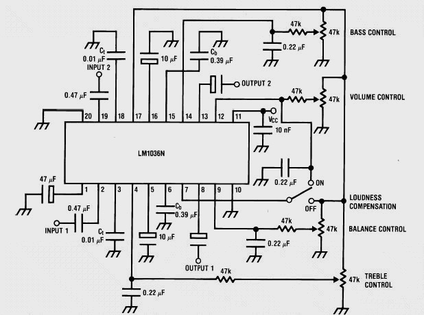 Schematic & Wiring Diagram: Stereo Tone Control using LM1036
