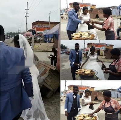 Newlywed Couple Seen Buying Roasted Plantain By The Roadside In Delta (Photos)