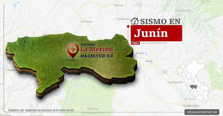 Temblor en Junín de magnitud 3.9 (Hoy Martes 10 Abril 2018) Sismo EPICENTRO La Merced - Chanchamayo - Perené - Pichanaqui - San Ramón - Vítoc - IGP - www.igp.gob.pe
