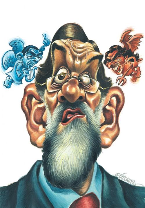 """Caricaturas de """"Mariano Rajoy, Alberto Ruiz-Gallardón y Jose María Aznar"""" por Joan Vizcarra"""