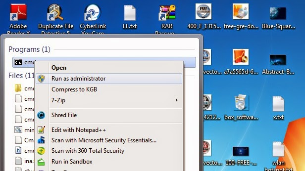 Open CMD on Windows 7 -Tricks to How Make a WiFi Hotspot on your Windows 7/8 Laptop