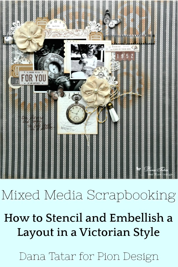 Black and White Scrapbook Layout with Victorian Embellishments and a Vintage Photo