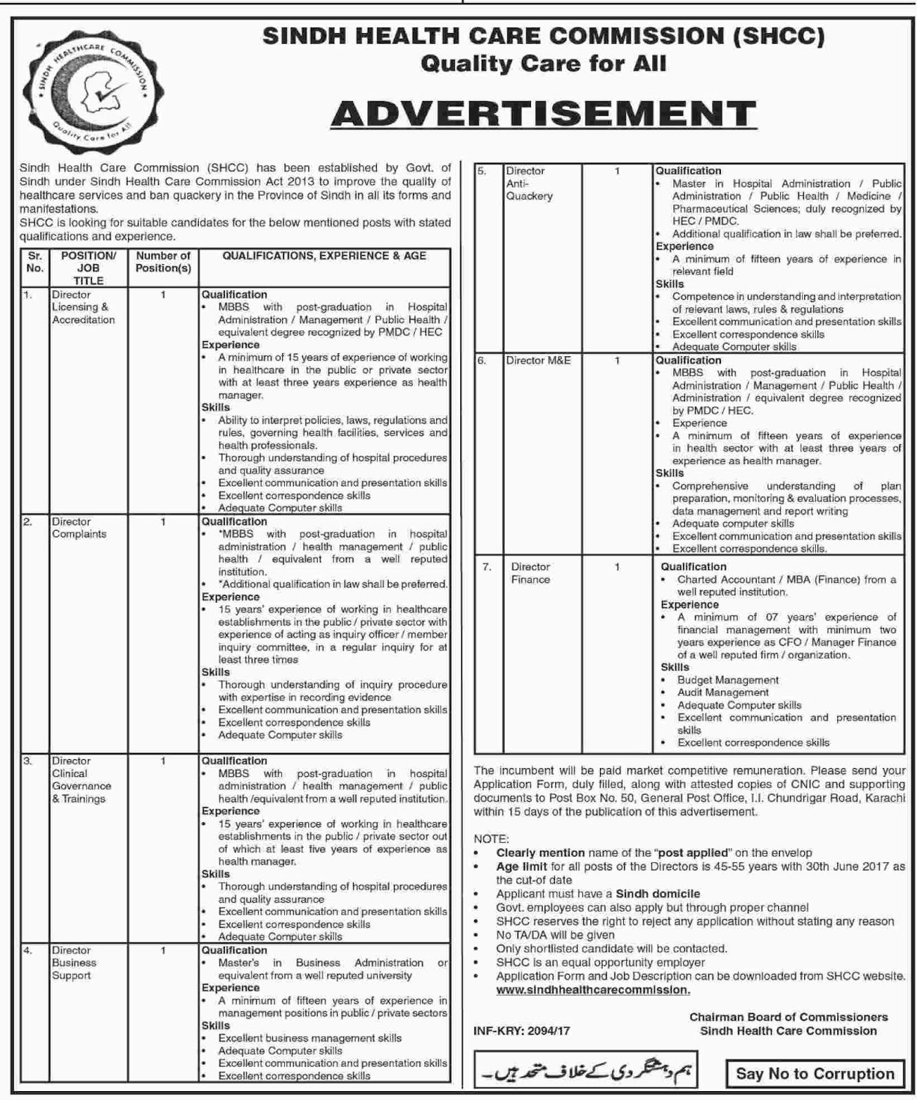 Jobs in Sindh Healthcare Commission Quality Care 20 april 2017