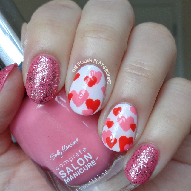 Red and Pink Hearts Nail Art