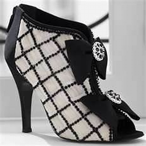 Chanel black and white plaid open toe boots