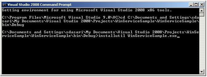 how to install windows service using command prompt or