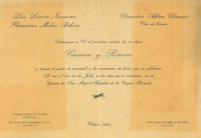 Invitación de la boda de Román Torán