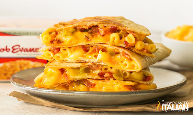 cheese quesadilla recipe stacked on a plate