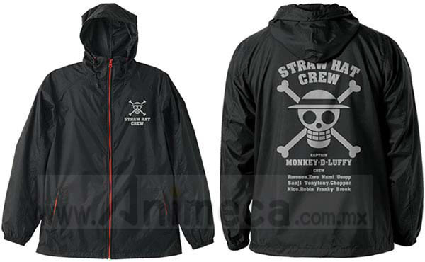 Hooded Windbreaker Straw Hat Pirates Black x Red One Piece Cospa