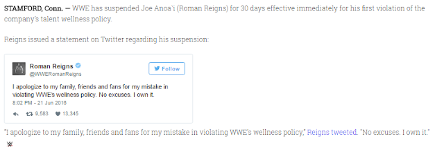 Wrestling Star Tweets About 30 Day Suspension