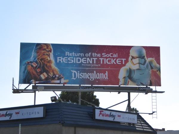 Chewbacca Star Wars Awakens Disneyland billboard