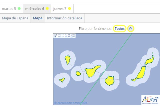 Aviso amarillo viento Canarias miércoles y jueves 6 y 7  abril
