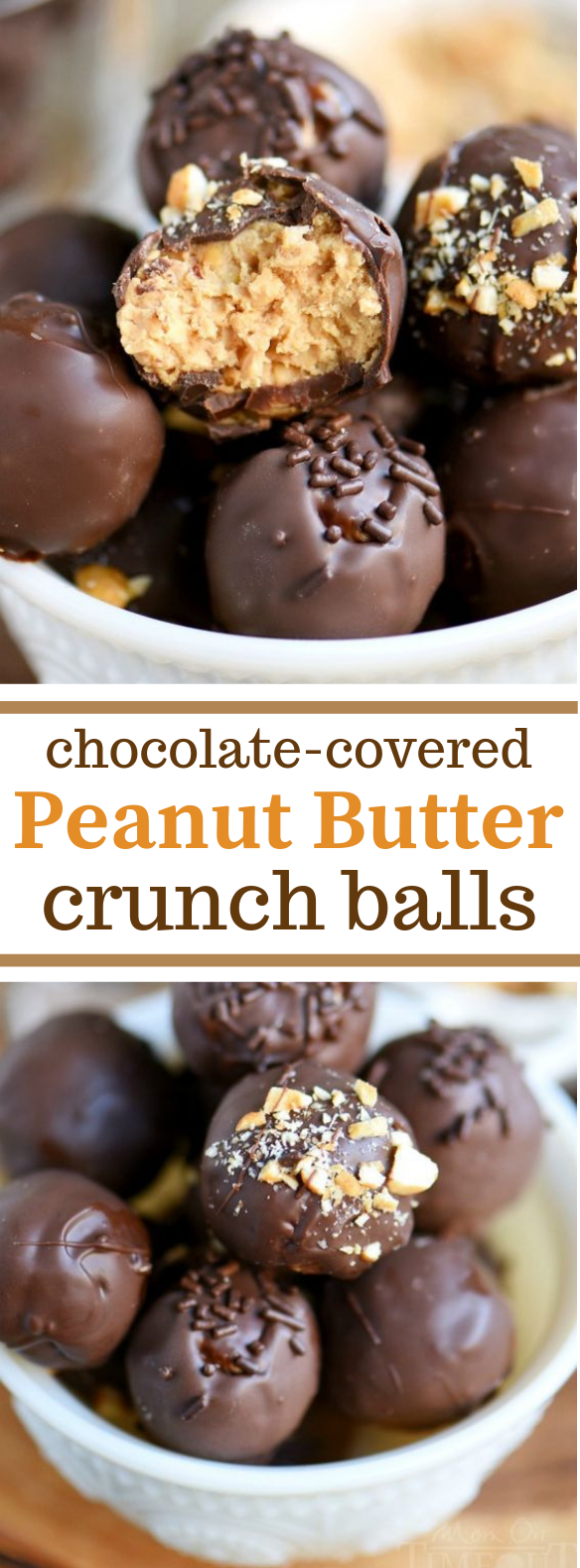 CHOCOLATE COVERED PEANUT BUTTER CRUNCH BALLS #Chocolate #Peanut