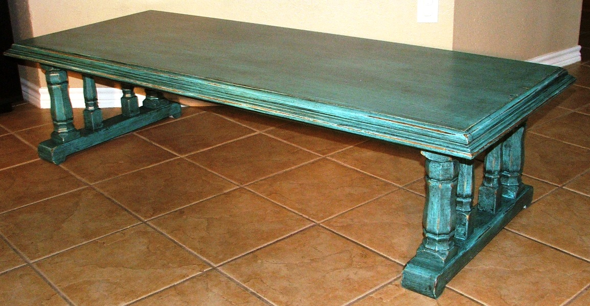 Turquoise & Black Chunky Coffee Table - Facelift Furniture