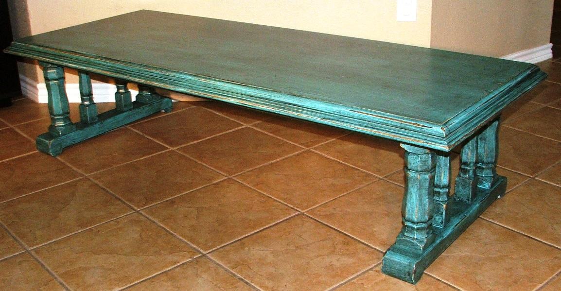 Turquoise Coffee Tables Handmade Table Mid Century
