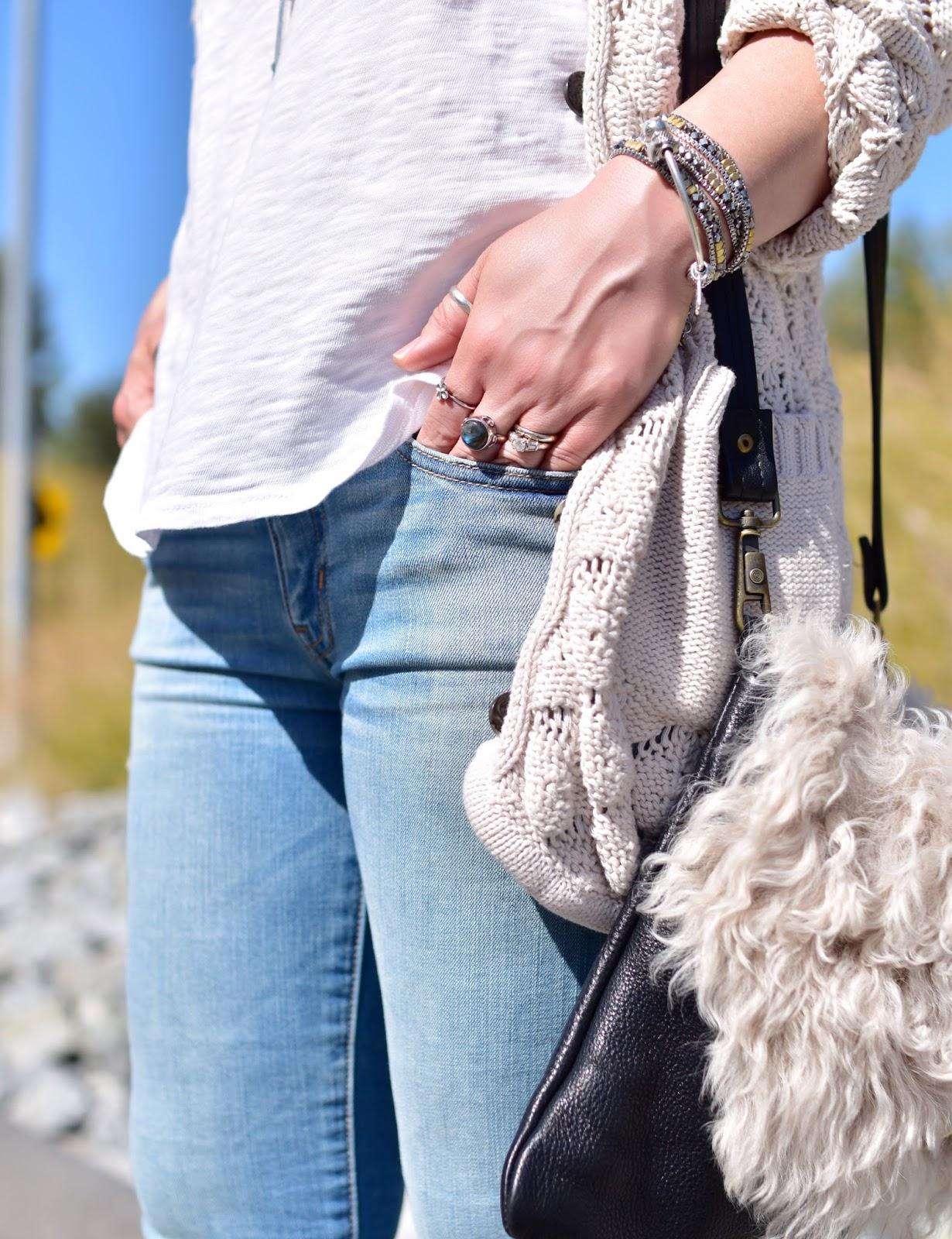 slouchy v-neck tee, skinny jeans, grandpa cardigan, sherpa bag
